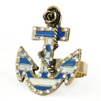 World Pride European Retro Blue and White Striped Sailor Rose Ship Anchor Ring