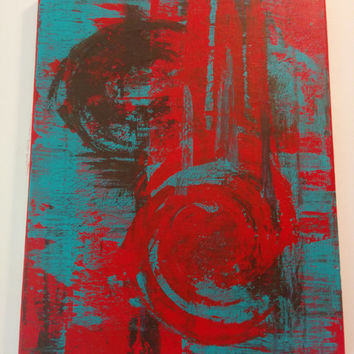 Abstract Nontraditional Red and Teal Splatter Painting with circles and streaks on small canvas
