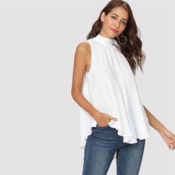 Elegant Sleeveless Pleated Blouse Women Stand Collar Back Lace Up Blouses Casual Oversized Chiffon Shirt