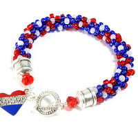 Patriotic Kumihimo Bracelet, Red White Blue Kumihimo, Heart Charm