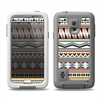 The Tan & Color Aztec Pattern V32 Samsung Galaxy S5 LifeProof Fre Case Skin Set