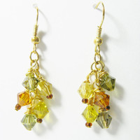 Earth tones gold earrings with Swarovski Crystals