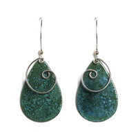 Jody Coyote Earrings from the Atlas Collection - Large Green Teardrop with Silver Swirl