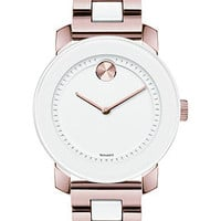 Movado Unisex Swiss Bold White TR90 and Rose Gold Ion-Plated Stainless Steel Bracelet Watch 36mm 3600164