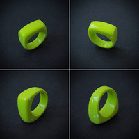 Size 8 US, Green ring, Green jewelry, Acid green, Modern rings, Fashion ring, Summer ring, Summer jewelry, Finger rings, Flat ring