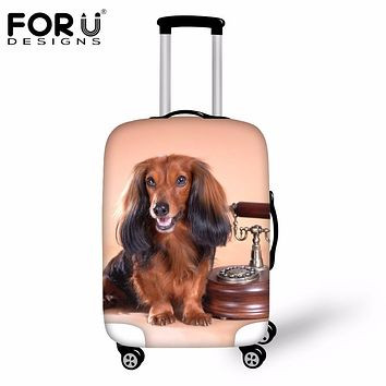 FORUDESIGNS Brand Luggage Protective Cover 3D Dachshund Dog Print Travel Suitcase Elastic Rain Cover For 18-30 Inch Trolley Case