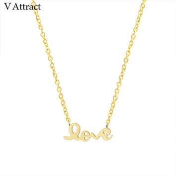 V Attract Wedding Gift Stainless Steel Choker 2018 Letter Charm Love Statement Necklace Pendant For Women Boho Jewelry