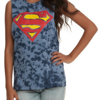 DC Comics Superman Logo Tie Dye Girls Muscle Top