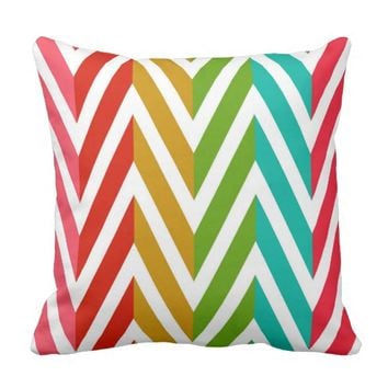 Vintage Colorful Design Throw Pillow