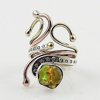 Ethiopian Opal Rough Cut Three Tone Sterling Silver Adjustable Ring