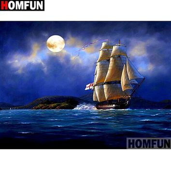5D Diamond Painting Sailing Ship in the Moonlight Kit