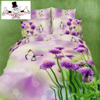 3D Purple Floral Daisy Butterfly Bedding Set and Quilt Cover