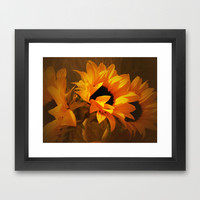 Sunny Autumn Sunflower Day Framed Art Print by RokinRonda