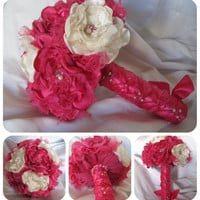 Wedding Bouquet Bridesmaid Bouquet  In Fuchsia and Ivory  with Pearl Accents and Lace... Custom Made to Your Colors