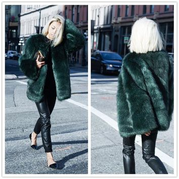 Streetwear Chic Winter Womens Faux Fur Coats Jackets Shaggy Cardigan Black White Long Fur Coat Fluffy Cozy Overcoat Outerwear 25