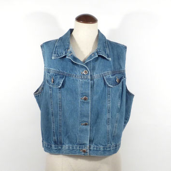 Jean vest Vintage 1990s Blue Denim Cropped Women's size XL