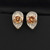 Citrine CZ Teardrop Earrings