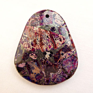 Purple Sea Sediment Jasper Pendant, Jewelry Making Top Drilled Pendant, Wire Wrapping Gemstone, Mixed Colors, Trapezoid Stone, UK Seller