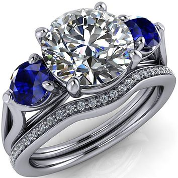 Mira Round Moissanite Blue Sapphire Side Split Shank Cathedral Hybrid Engagement Ring