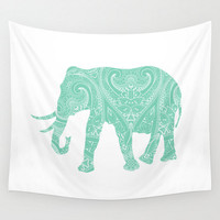Mandala Elephant Wall Tapestry  Mint Lucite Green Pastel Boho Bohemian India Indian Dorm Room Home Decor
