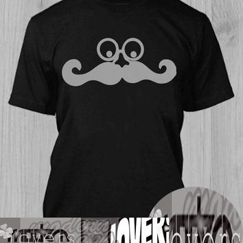 mustache TShirt Tee Shirts Black and White For Men and Women Unisex Size