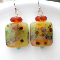 Lampwork Earrings, Handmade Pastel Earrings, Glass Beaded Dangle Drop Earrings, Unique Handmade Lampwork Jewelry for Her