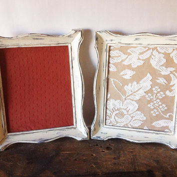 Antique White Picture Frame Set Of 2 Shabby Chic Wall Decor 8x10