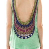 Unique Embroidered Back Knit Top - Mint