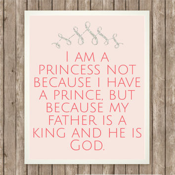 I Am A Princess, Inspiring Quote, Instant Download, Praise and Worship, Little Girl Art, Sparkly Crown, Princess Decor, Pink Nursery Art