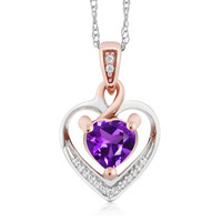 """10K Two-Tone Gold Amethyst and Diamond Heart Shape Pendant Necklace w/ 18"""" Chain"""