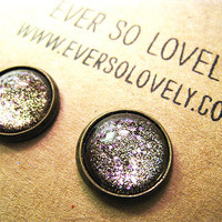 gold dust nights and lavender skies handmade earrings by EverSoLovely
