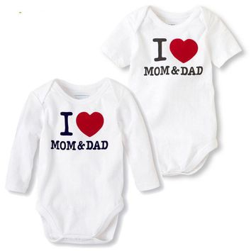 Unisex Newborn Baby Clothes I love Mom And Dad
