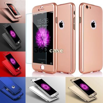 Hybrid 360° Shockproof Case Tempered Glass Cover For Apple iPhone 7 5s 6s SE