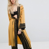 Kiss The Sky Maxi Kimono In Abstract Print Co-Ord at asos.com