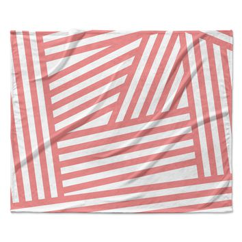 "Louise Machado ""Rose Stripes"" Pink White Fleece Throw Blanket"