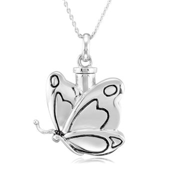 Sterling Silver Flying Butterfly Ash Holder Necklace, 18 Inch