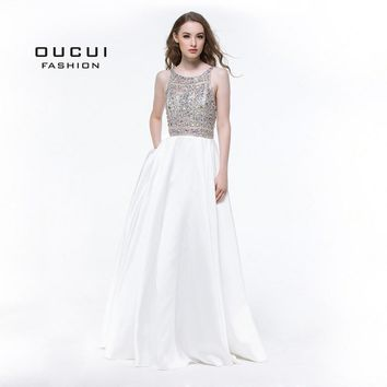 Real Photos Gown Party Prom Dress Evening Tank Long Ball Gown Full Crystal Handmade New OL102964