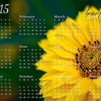 Annual Calendar, Bright Colors, 5x7 Yearly, Desk Accessories, Yellow Daisy, Macro Photography, 2015 New Year, Nature Photograph, Wall Decor