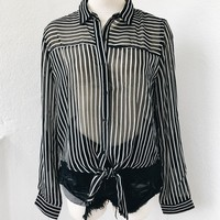 CINDY SHEER TIE TOP- STRIPE
