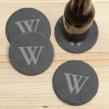 Single Initial Slate Coaster Set