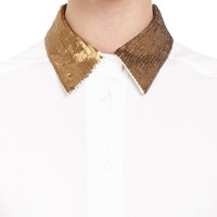 Blouse With Sequin-Embroidered Collar