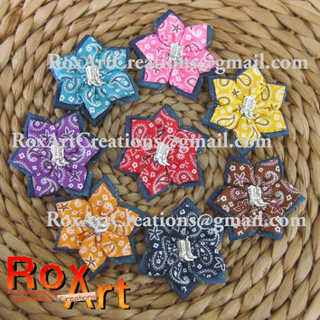 8 Dahlia flower bandana print cowboy boot ladies children hair bow broach scarf clip