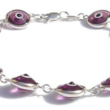 Evil Eye Purple Translucent Silver Bracelet