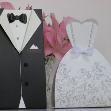 160 Wedding Favor Candy Boxes and Ribbon 80 Bride and 80 Groom Dress