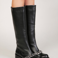 Black Chain Details Pull-on Leather Knee High Boots