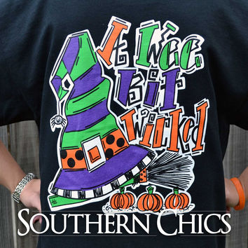 Southern Chics Halloween A Wee Bit Wiked Pumpkin Witch Fall Girlie Comfort Colors Bright T Shirt