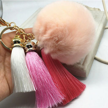 Hot! Pompom Tassell Beige  Key Ring