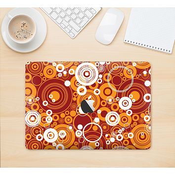 """The Abstract Vector Gold & White Circle Swirls Skin Kit for the 12"""" Apple MacBook"""