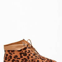 Bamboo Leopard Cuffed Up Ankle Boots