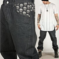 Striking Skull Printed Low Crotch Baggy Jeans 114 - Pants & Jeans | RebelsMarket